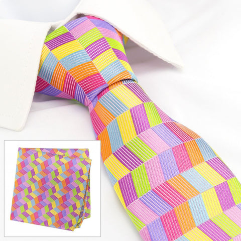 Multicoloured Chevron Silk Tie & Handkerchief Set