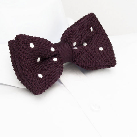 Pre-Tied Burgundy Polka Dot Knitted Bow Tie
