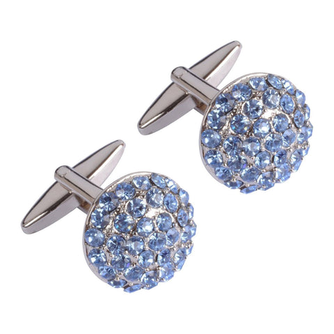 Blue Crystal Circles Cufflinks