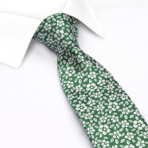 Green & White Daisy Chain Floral Silk Tie