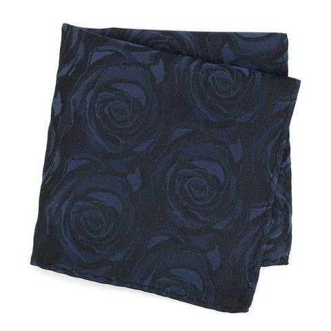 Navy Rose Silk Handkerchief