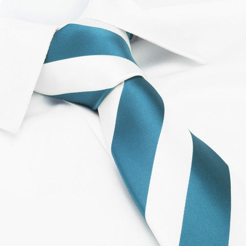 Turquoise & White Striped Tie