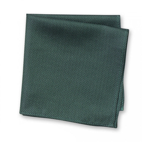 Dark Green Silk Plain Classic Textured Handkerchief