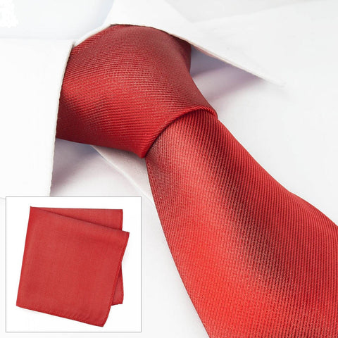 Plain Red Woven Silk Tie & Handkerchief Set
