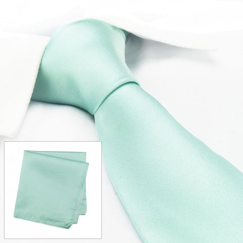 Plain Cyan Silk Tie & Handkerchief Set