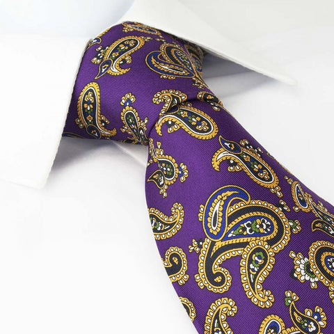 Purple Silk Tie With Large Paisley Design