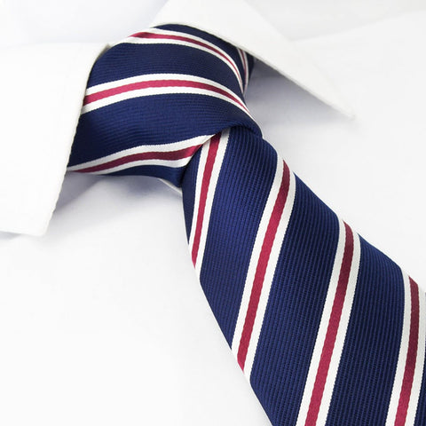Navy Silk Tie With Burgundy And White Stripes
