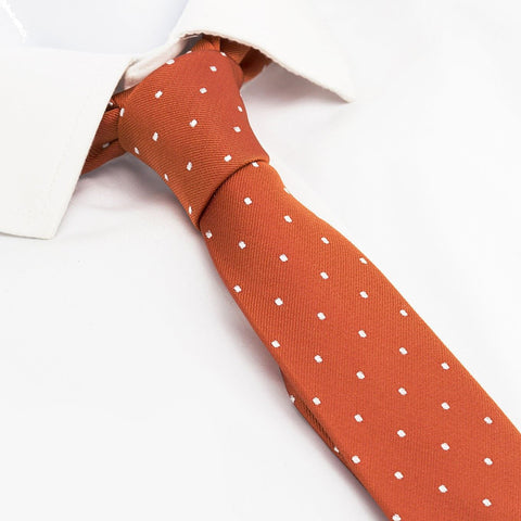 Burnt Orange Polka Dot Slim Silk Tie