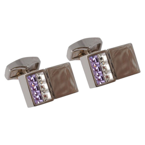 Tanzanite White Swarvoski Crystal Cufflinks