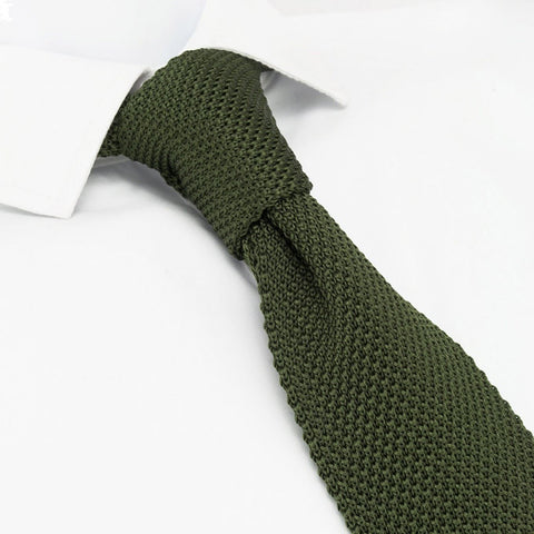 Country Green Knitted Square Cut Silk Tie