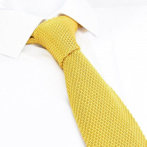 Mustard Knitted Square Cut Silk Tie