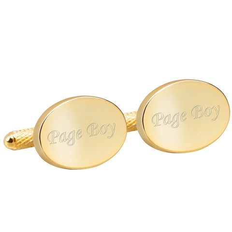 Engraved Gold Page Boy Cufflinks
