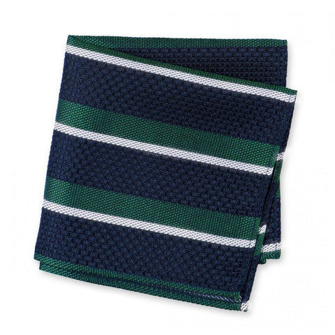 Dark Green, Navy & White Classic Club Stripe Silk Handkerchief