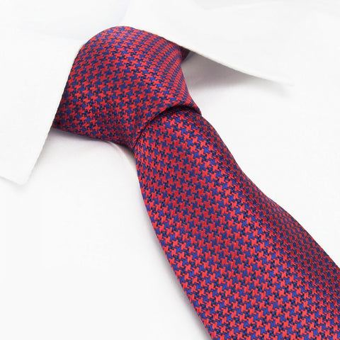 Red & Navy Dogtooth Silk Tie