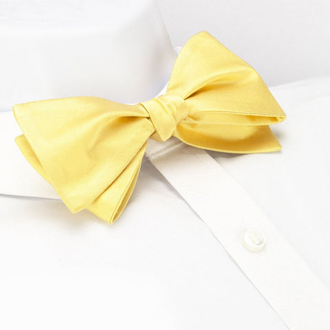 Self-Tie Plain Lemon Yellow Silk Bow Tie