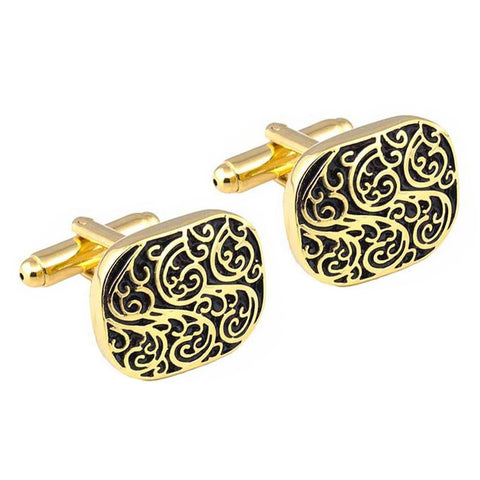 Vine Patterned Gold Cufflinks