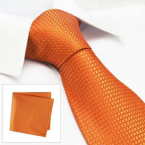 Orange Micro Square Woven Silk Tie & Handkerchief Set