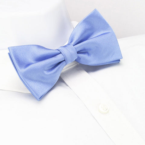 Pre-Tied Plain Light Blue Silk Bow Tie