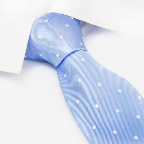 Light Blue Polka Dot Woven Silk Tie