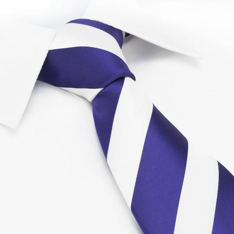 Purple & White Striped Tie