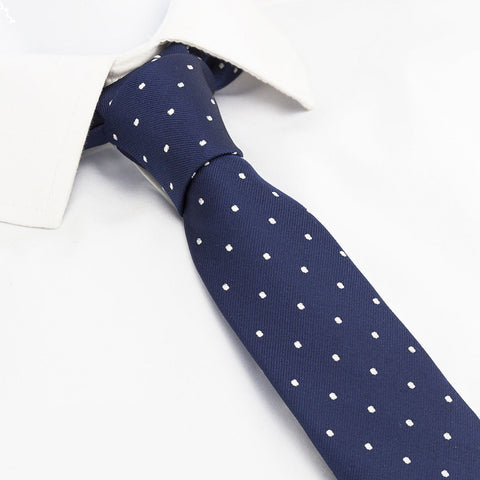 Navy Polka Dot Slim Silk Tie