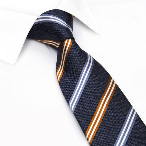 Blue & Burnt Orange Textured Silk Club Stripe Tie