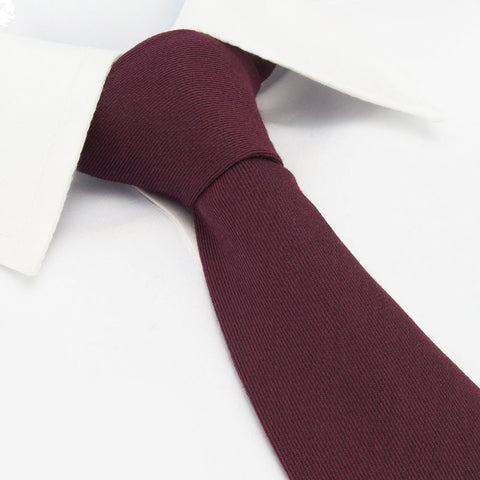 Plain Wine Wool Mix Tie