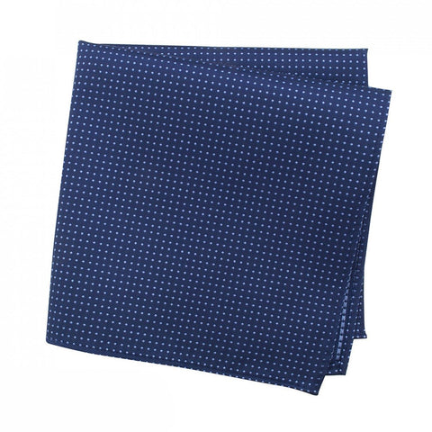 Navy Neat Pin Dot Silk Handkerchief