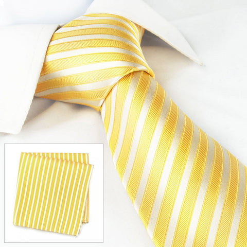 Yellow & White Satin Silk Tie & Handkerchief Set