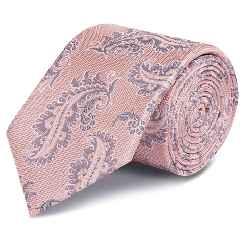Pink Luxury Paisley Leaf Silk Tie