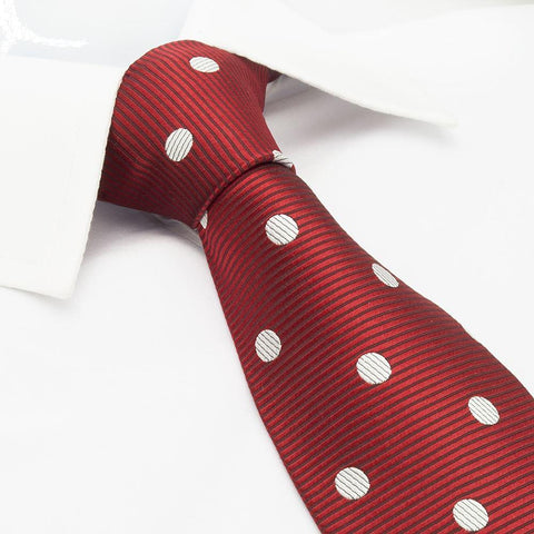 Red Silk Tie With White Polka Dots