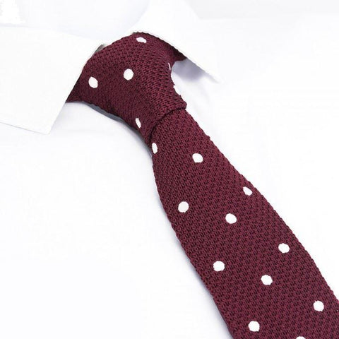 Wine Polka Dot Knitted Square Cut Tie