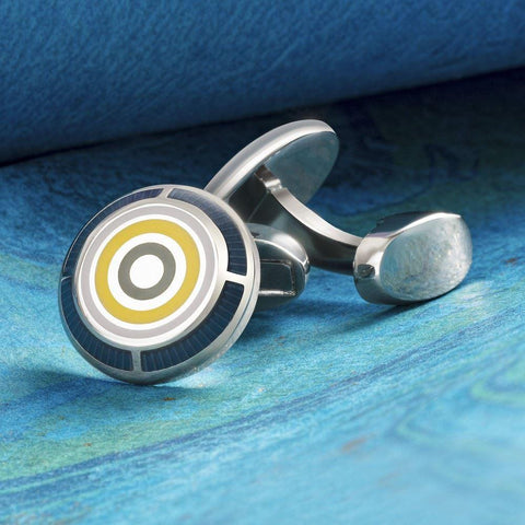 Navy Multicoloured Circle Cufflinks