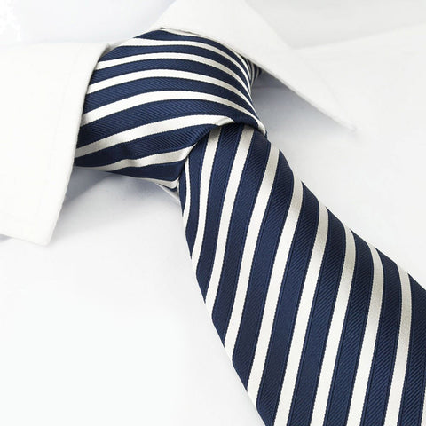 Navy and White Striped Woven Silk Tie