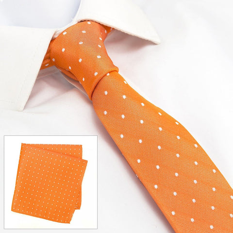 Orange Polka Dot Slim Silk Tie & Handkerchief Set