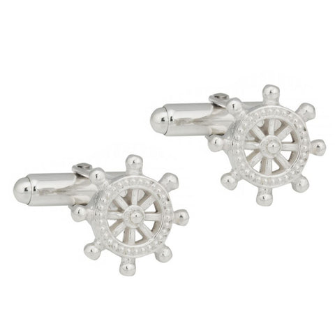 Sterling Silver Ship Wheel Cufflinks