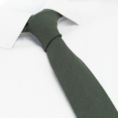 Plain Country Green Wool Mix Slim Tie