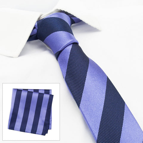 Lilac & Navy Woven Striped Slim Silk Tie & Handkerchief Set