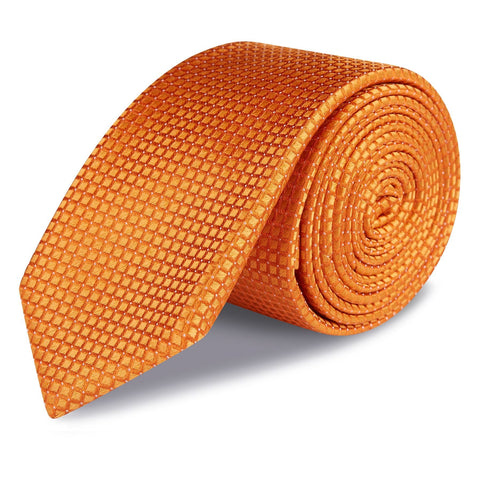 Orange Micro Square Woven Slim Silk Tie