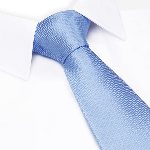 Blue Herringbone Silk Tie