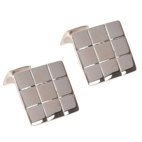 Sterling Silver Square Grid Cufflinks