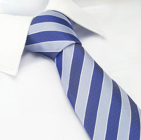 Blue Luxury Striped Silk Tie