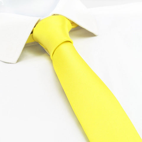 Fluro Yellow Slim Silk Tie