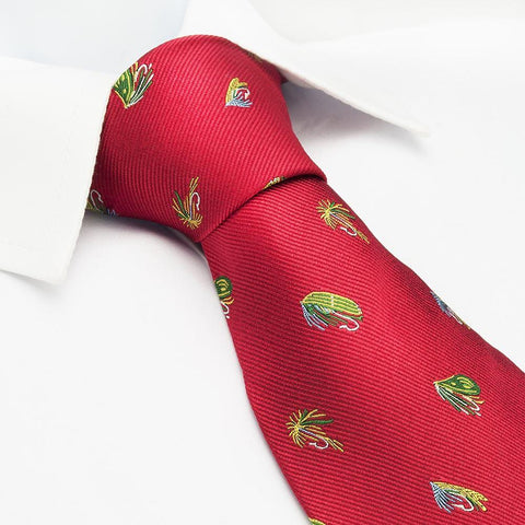 Red Fly Fishing Woven Silk Tie