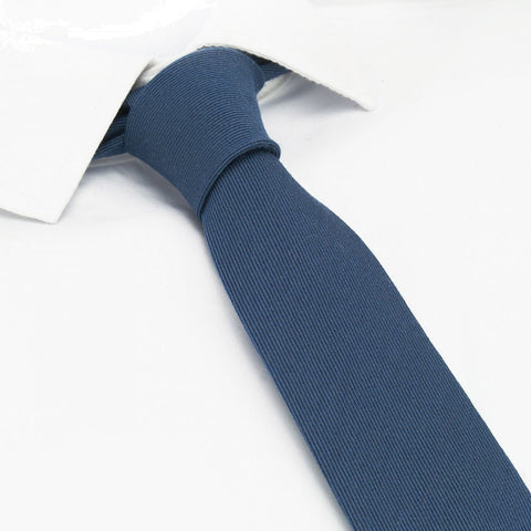 Plain Blue Wool Mix Slim Tie