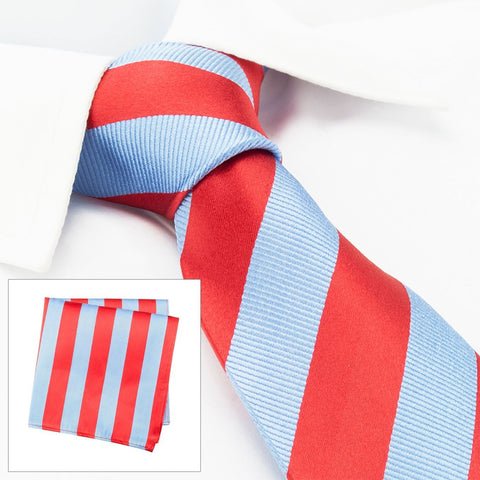 Red & Blue Woven Striped Silk Tie & Handkerchief Set