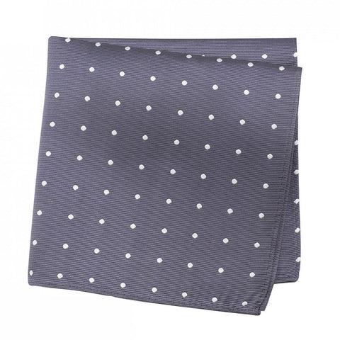 Charcoal Grey Polka Dot Silk Handkerchief