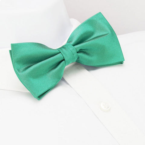Pre-Tied Plain Turquoise Silk Bow Tie