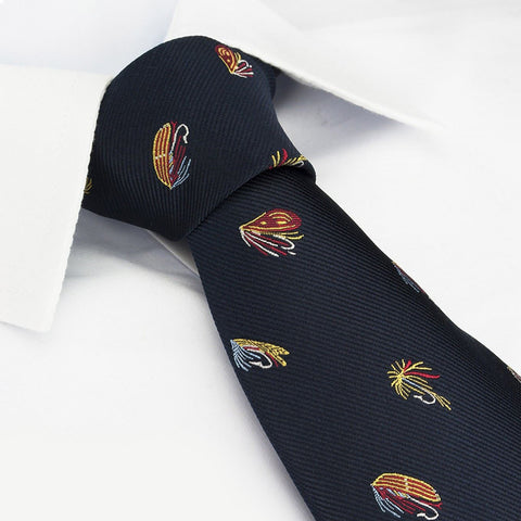 Navy Fly Fishing Woven Silk Tie