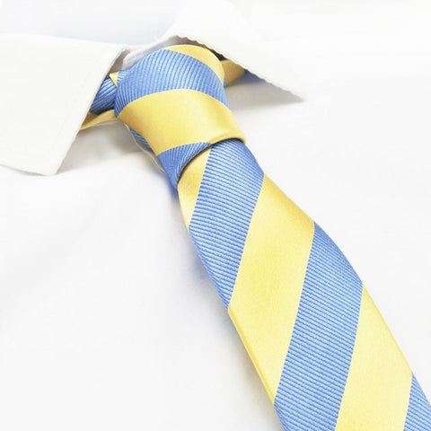 Yellow & Blue Woven Striped Slim Silk Tie